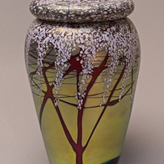 Cherry Blossom Vase with Lid