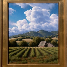 Santa Ynez Valley Vineyard SOLD - Oil on Canvas Framed 26 x 30