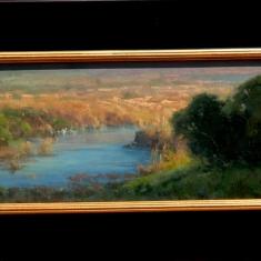 Santa Rita Creek Evening - Oil on linen 15 x 22 Framed