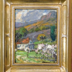 McCalls Farm - Oil on Linen Hand Carved Frame 12.5 x 14.5