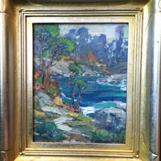 Pt. Lobos SOLD - Oil on Linen Hand Carved Frame 13.5 x 15.5