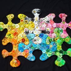 Six Piece Puzzle SOLD - Enamel Vintage Flower Pins from 1960 35x47